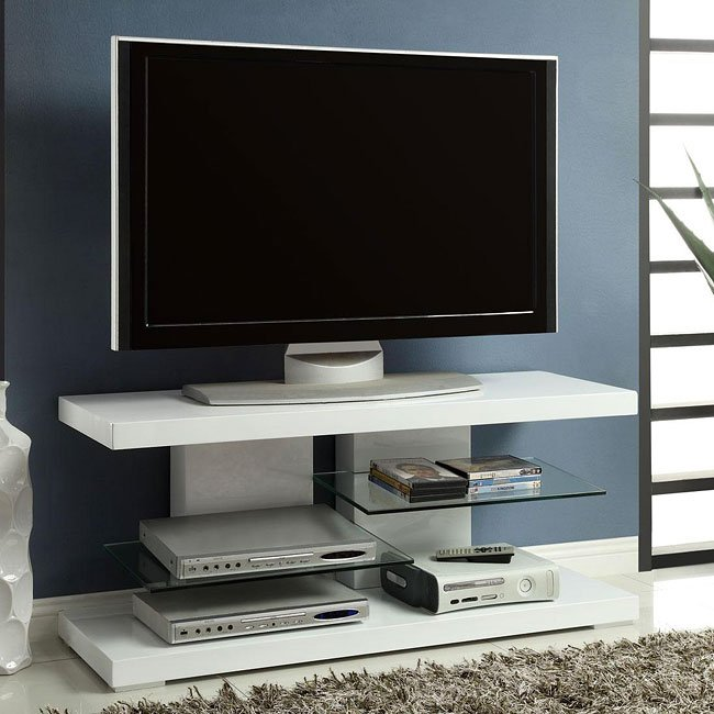 High Gloss White Tv Stand W Glass Shelves By Coaster Furniture