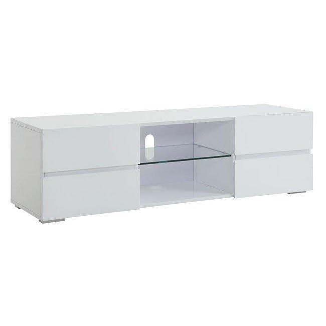 High Gloss White Tv Stand W Storage Drawers