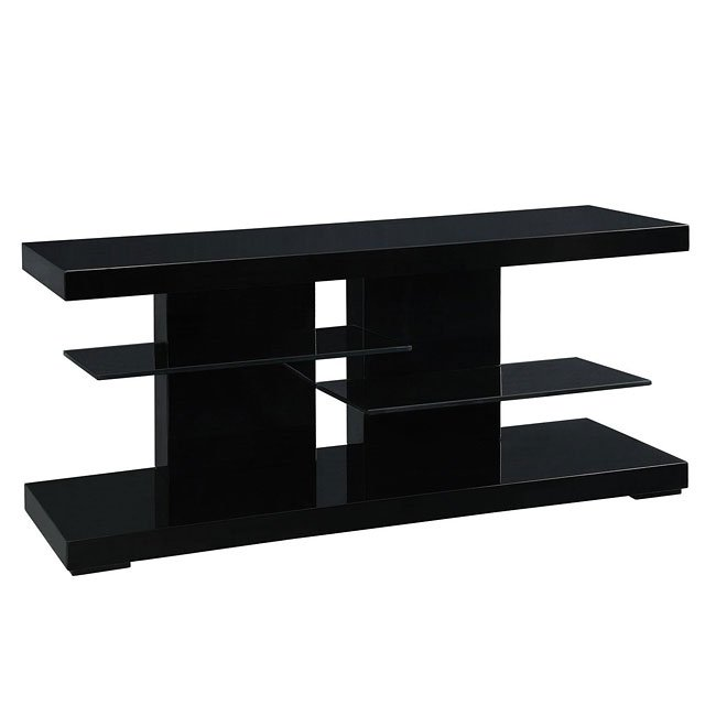 High Gloss Black Tv Stand W Glass Shelves By Coaster Furniture