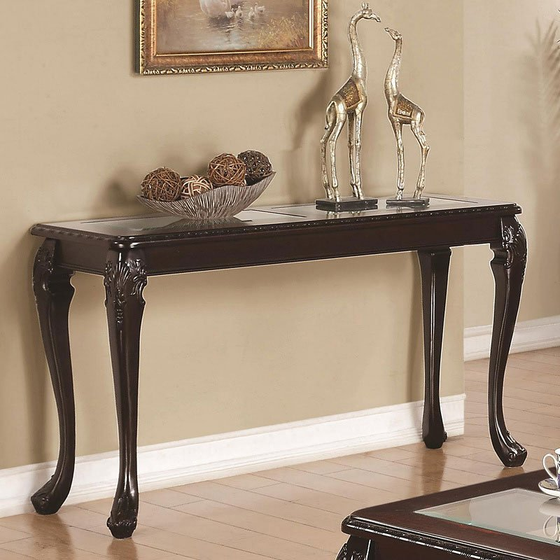 W Furniture: Glass Top Occasional Table Set W/ Carved Legs By Coaster