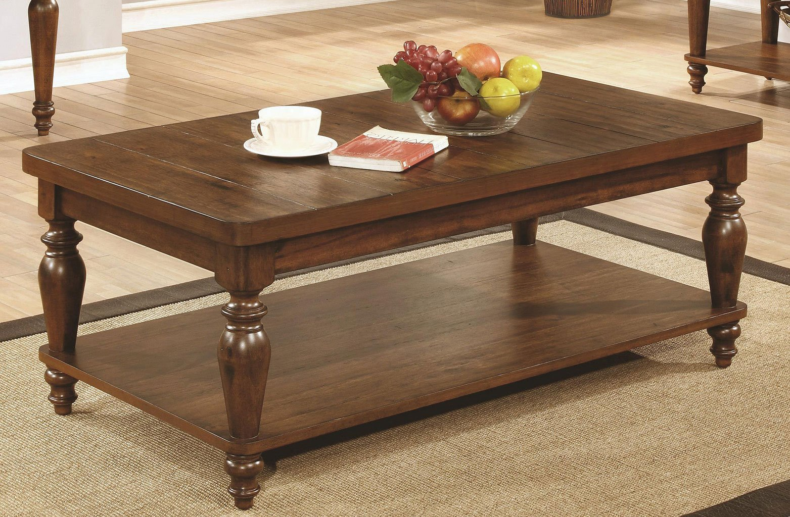 Rustic Brown Coffee Table W Turned Legs Coffee And Cocktail Tables Occasional And Accent