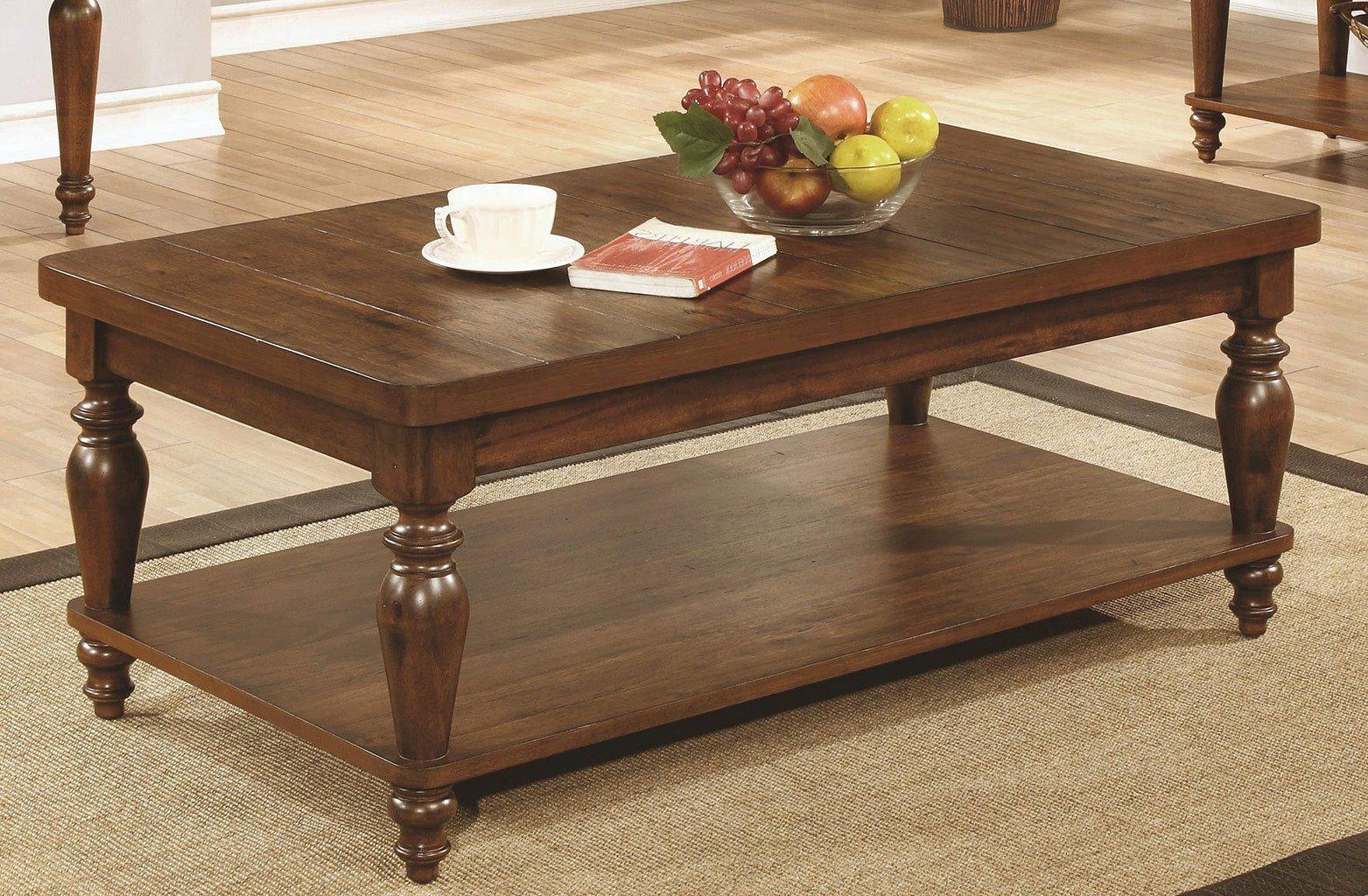 Rustic Brown Coffee Table W/ Turned Legs