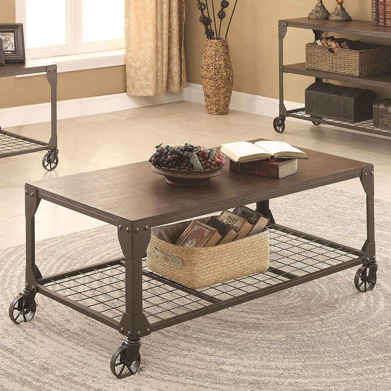 Rustic Coffee Table W/ Functioning Wheels By Coaster