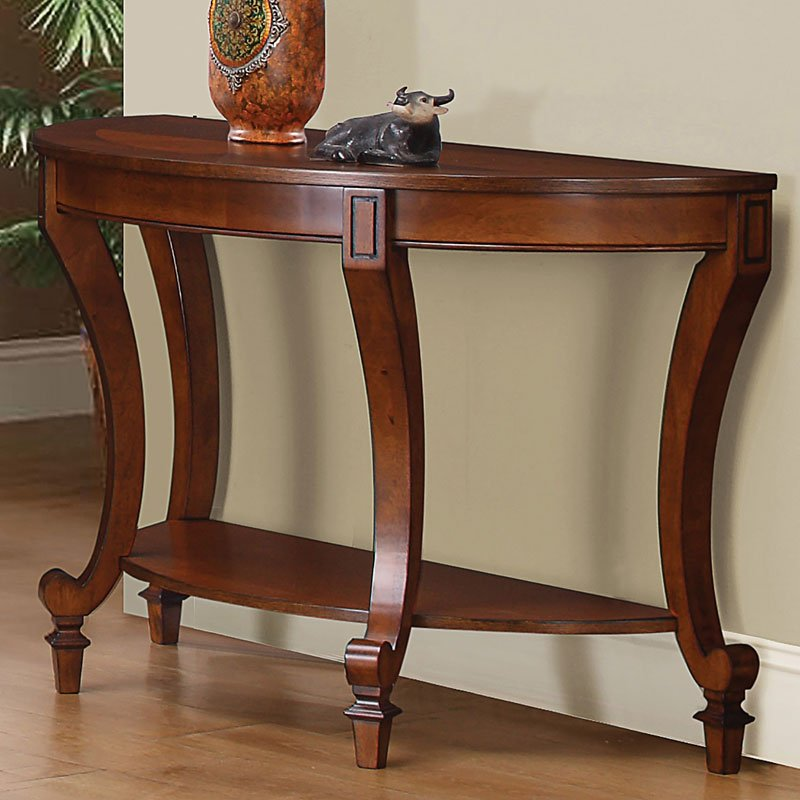 Warm Brown Sofa Table W/ Curved Legs