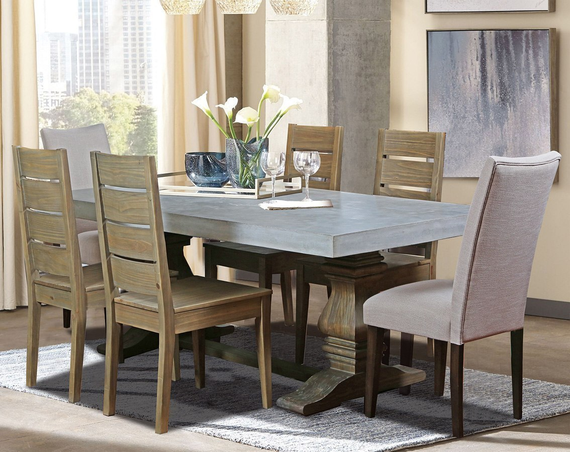 Bronson Concrete Top Dining Room Set By Cottage Creek Furniture