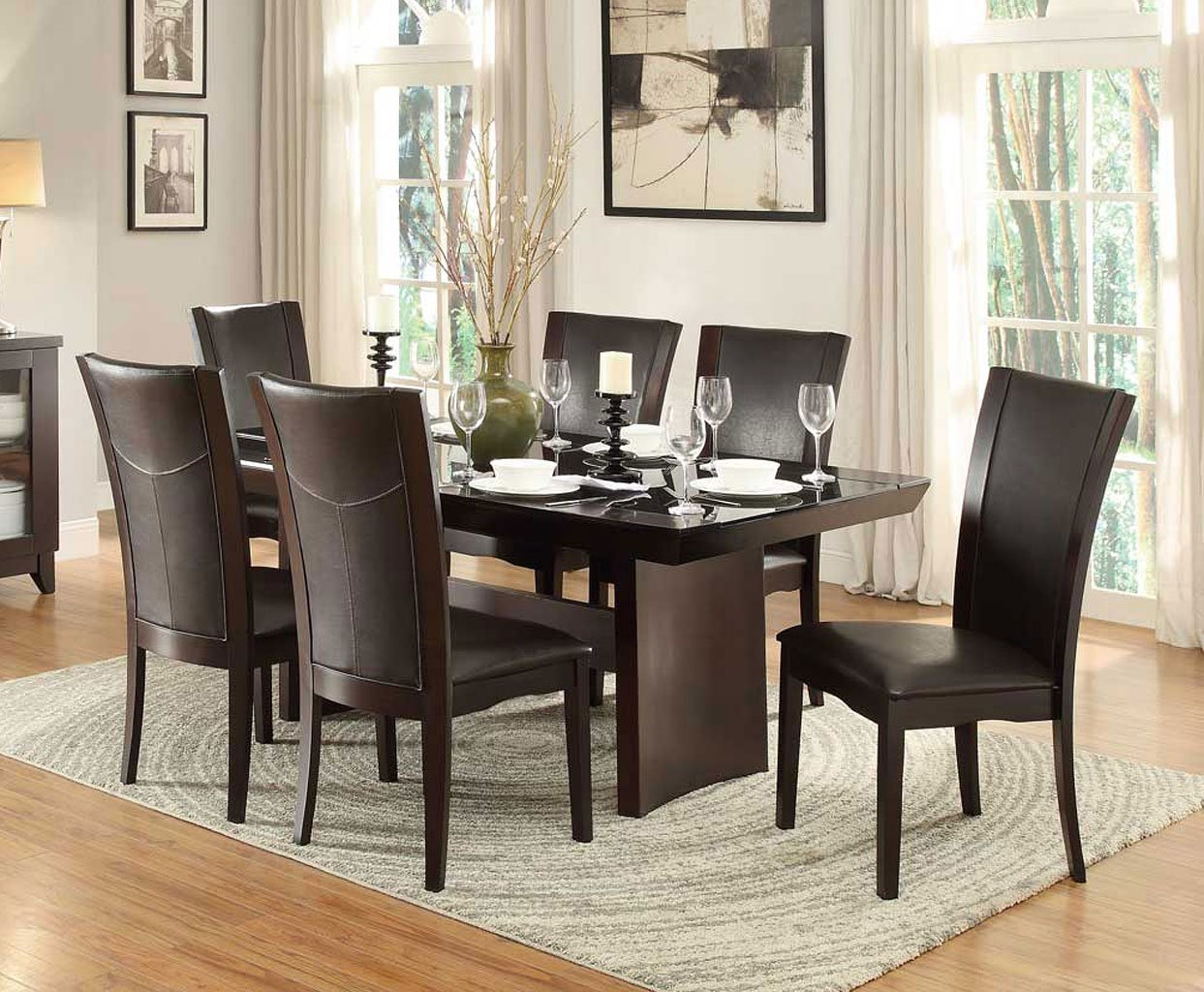 Daisy glass insert dining room set w dark brown chairs