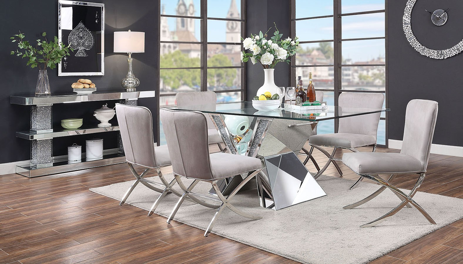 Nie Rectangular Dining Room Set W Daire Chairs