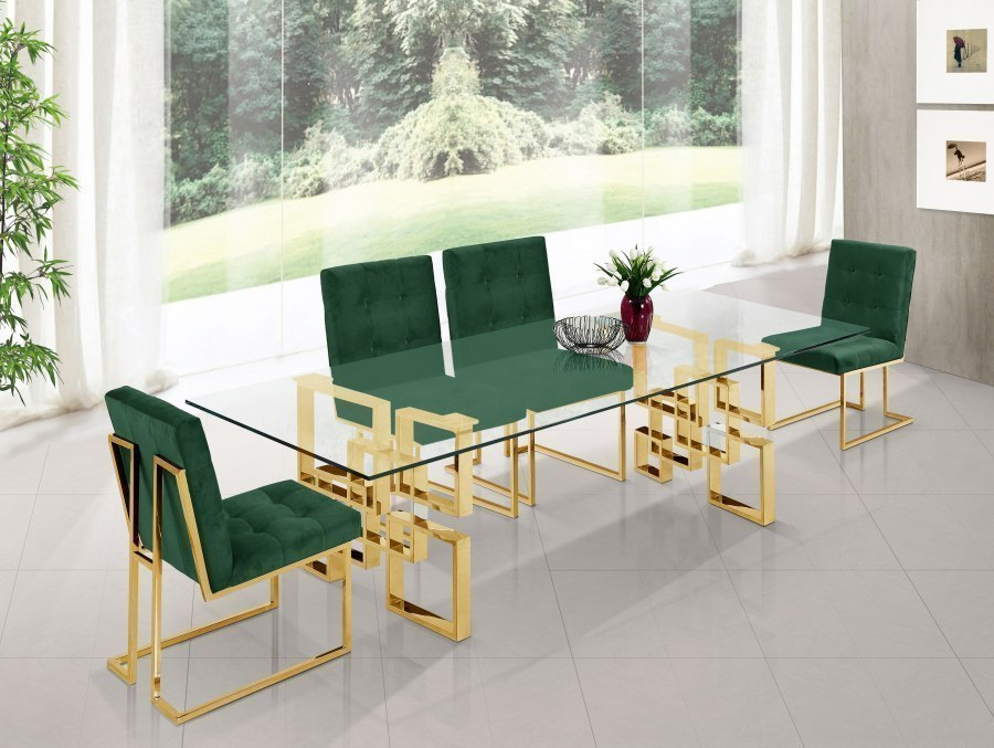 Pierre Dining Room Set W Green Chairs