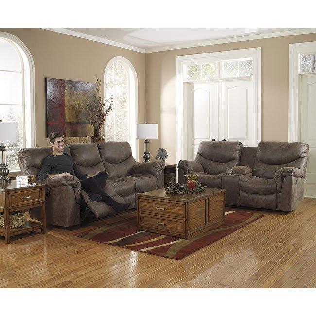 Alzena Gunsmoke Reclining Living Room Set By Signature