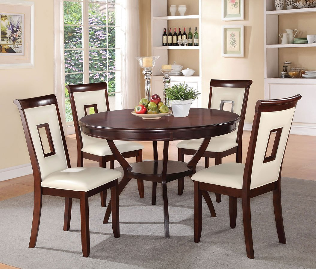 Dining Room Sets 5 Piece: Oswell 5-Piece Dining Room Set W/ Cream Chairs By Acme