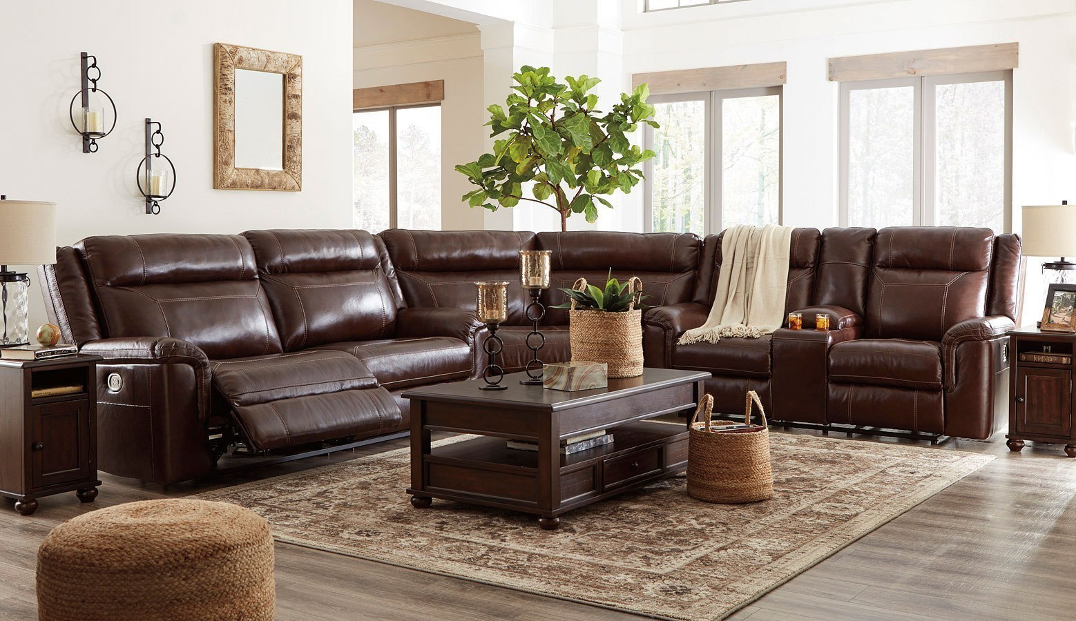 Pleasant Wyline Coffee Power Reclining Sectional Set Pdpeps Interior Chair Design Pdpepsorg