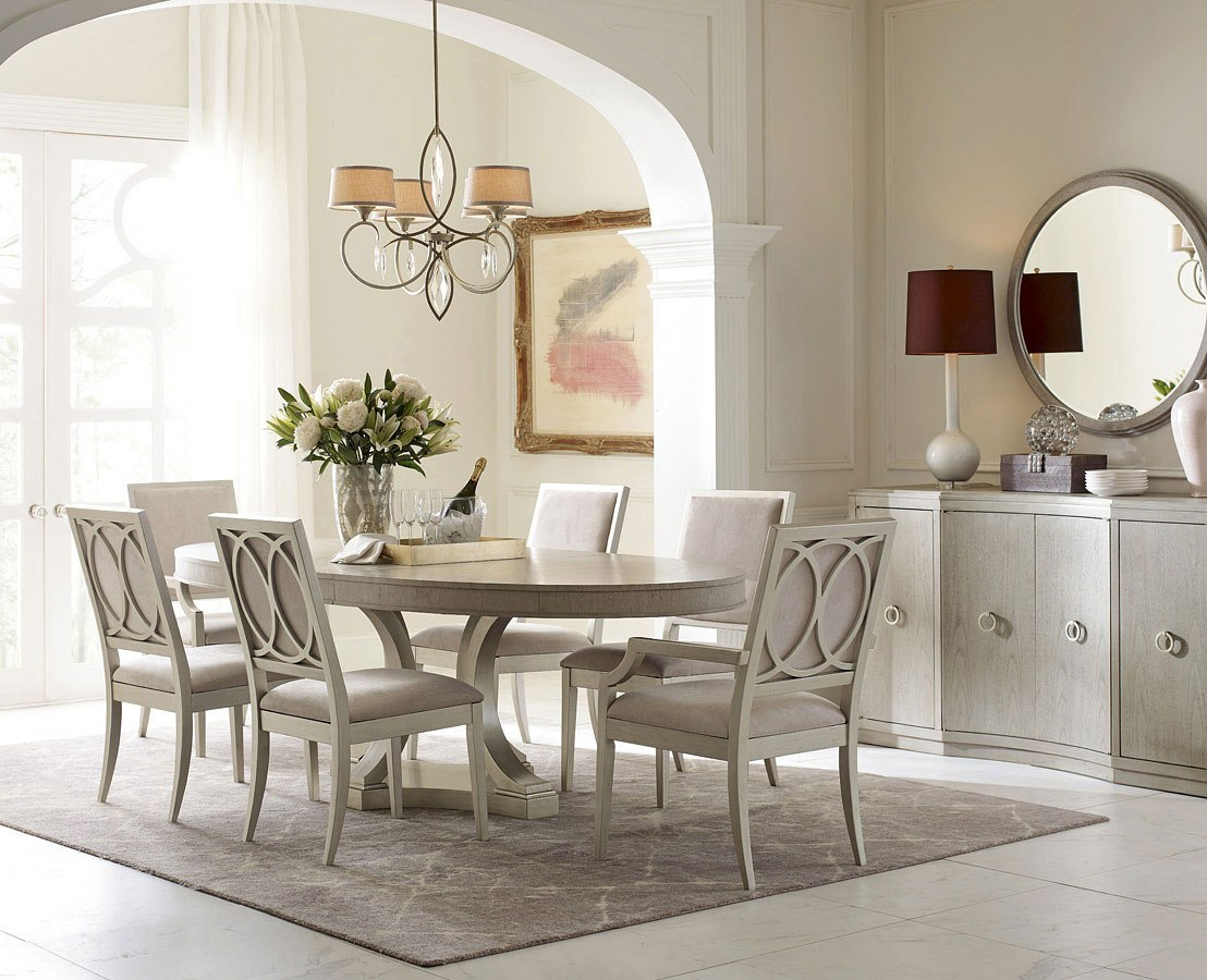 Cinema Oval Dining Room Set w/ Silver Screen Chairs