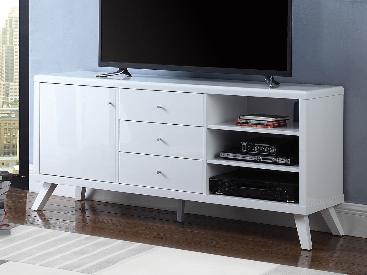 Glossy White 60 Inch Tv Console W Door And Drawers By