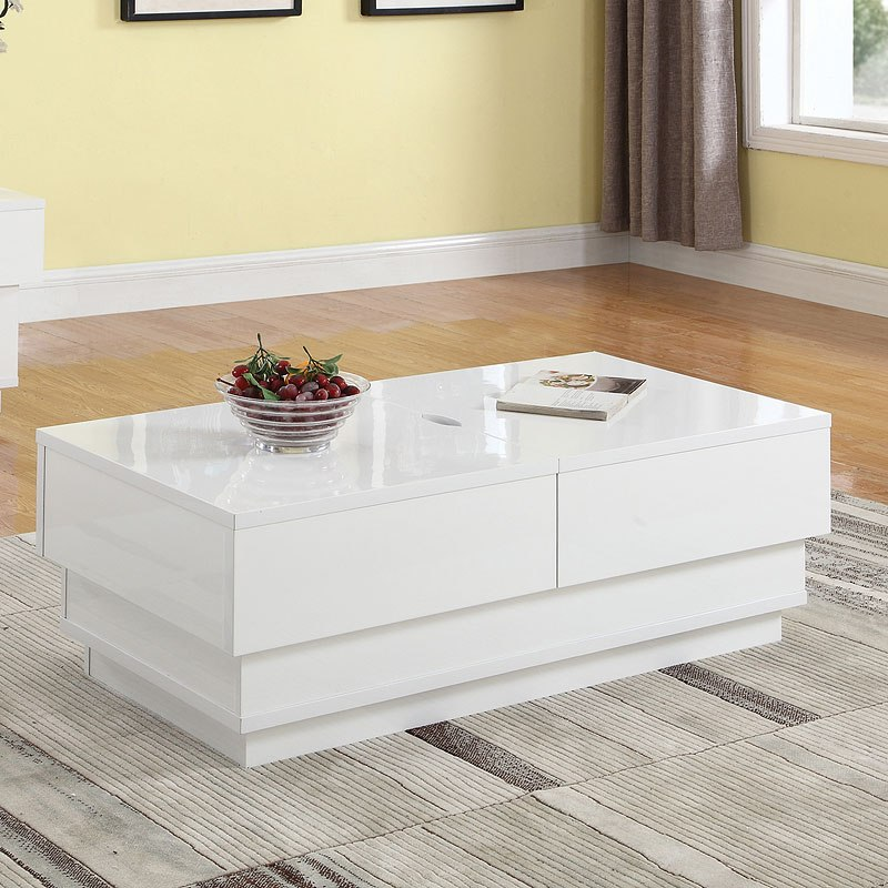 Glossy White Occasional Table Set W Sliding Tops By