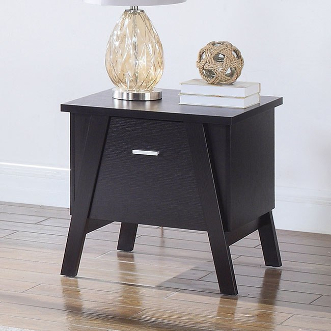 Coffee Table Angled Legs: Cappuccino End Table W/ Angled Legs By Coaster Furniture