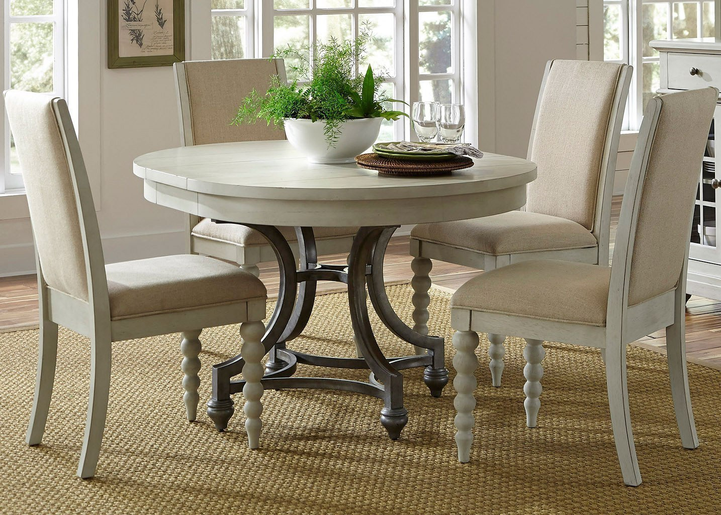 Harbor View Iii Round Dining Room Set W Upholstered