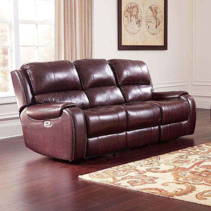 Gilmanton Burgundy Power Reclining Sofa W/ Adjustable Headrest