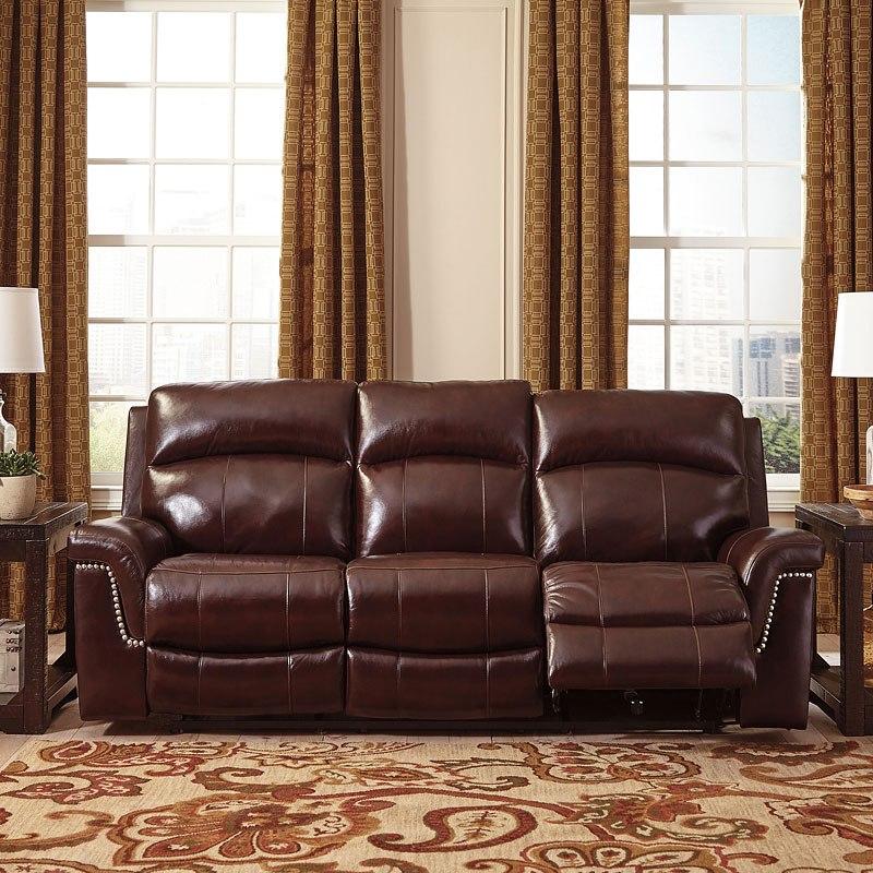 Timmons Burgundy Power Reclining Sofa w/ Adjustable Headrest