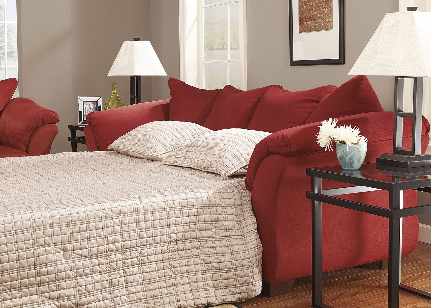 Darcy Salsa Full Sofa Chaise Sleeper By Signature Design