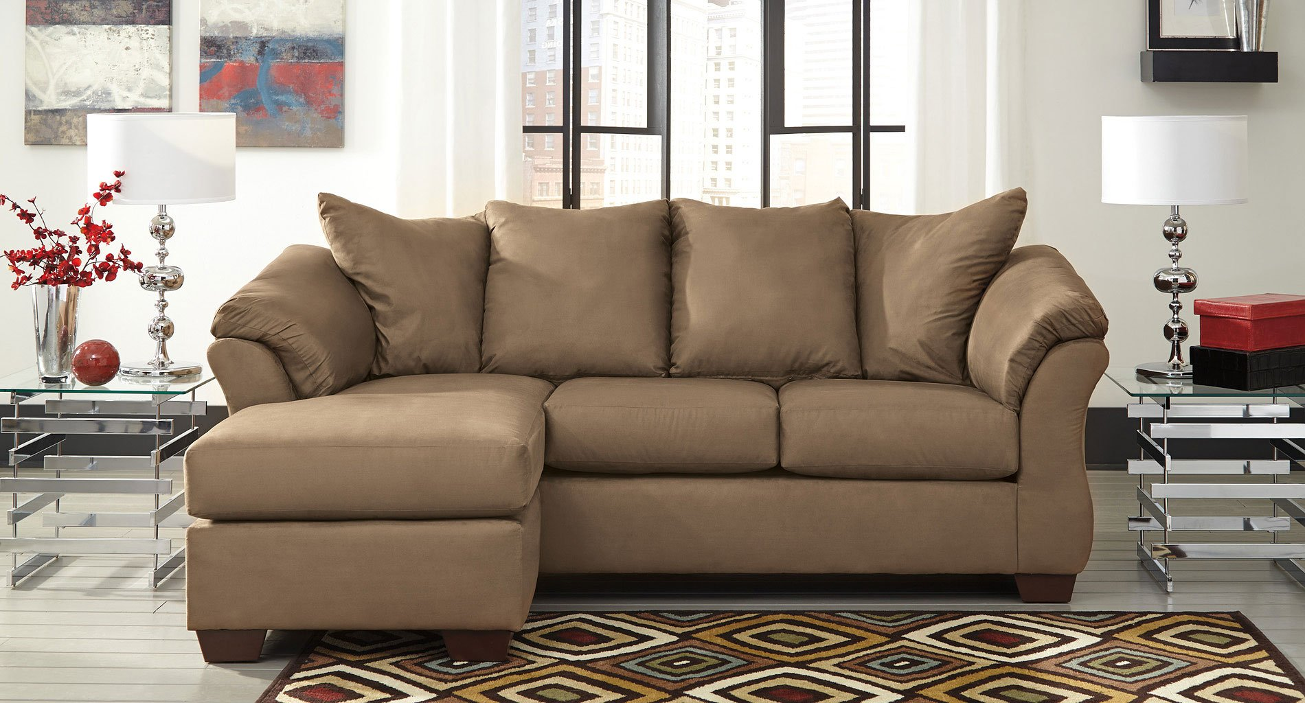 Enjoyable Darcy Mocha Sofa Chaise Set Home Remodeling Inspirations Basidirectenergyitoicom