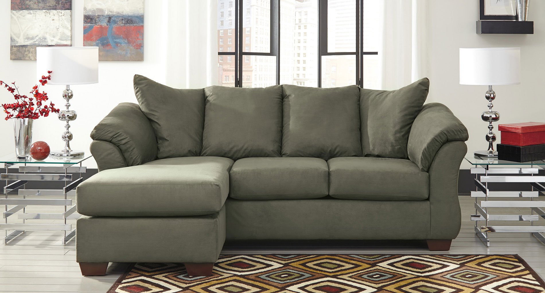 Darcy Sage Sofa Chaise Set By Signature Design By Ashley