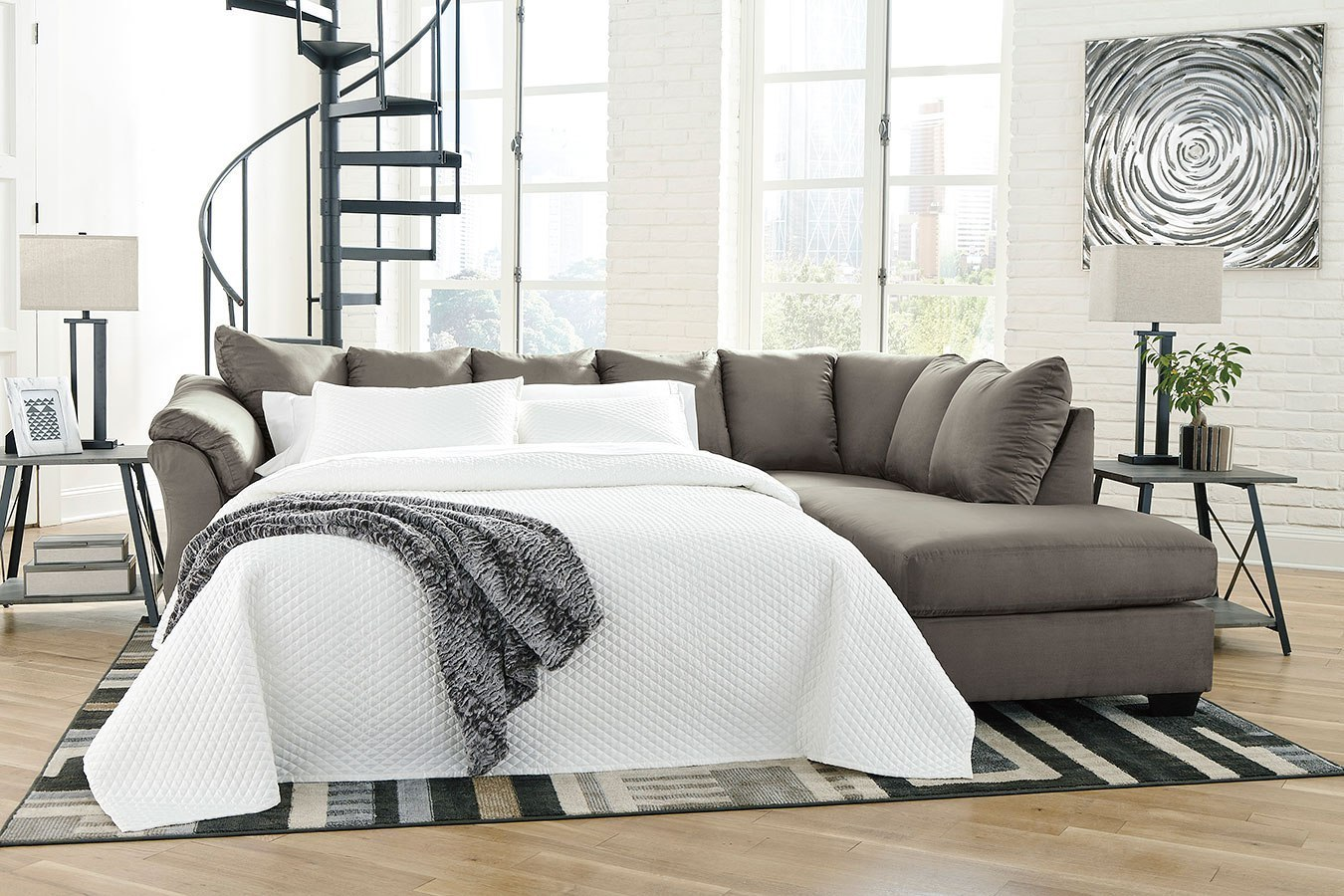 Darcy Cobblestone Right Chaise Sectional Sleeper