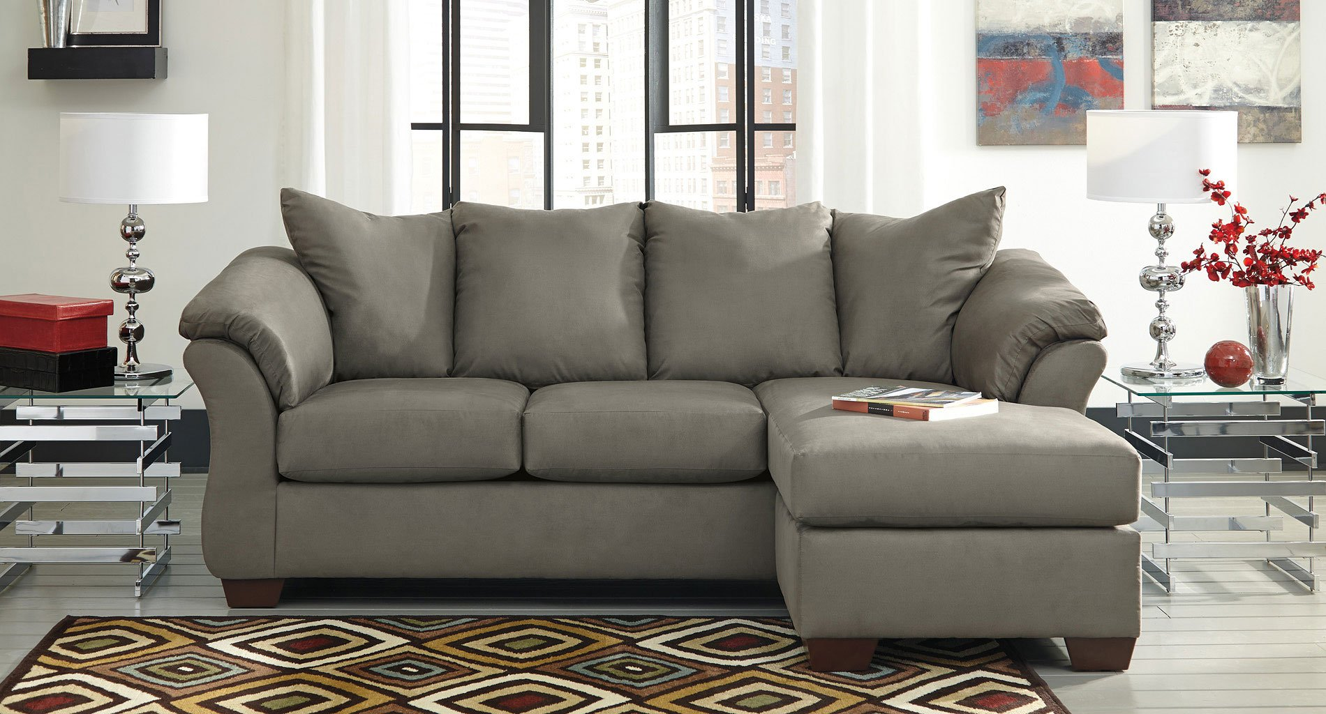 Darcy Cobblestone Sofa Chaise Set By Signature Design By