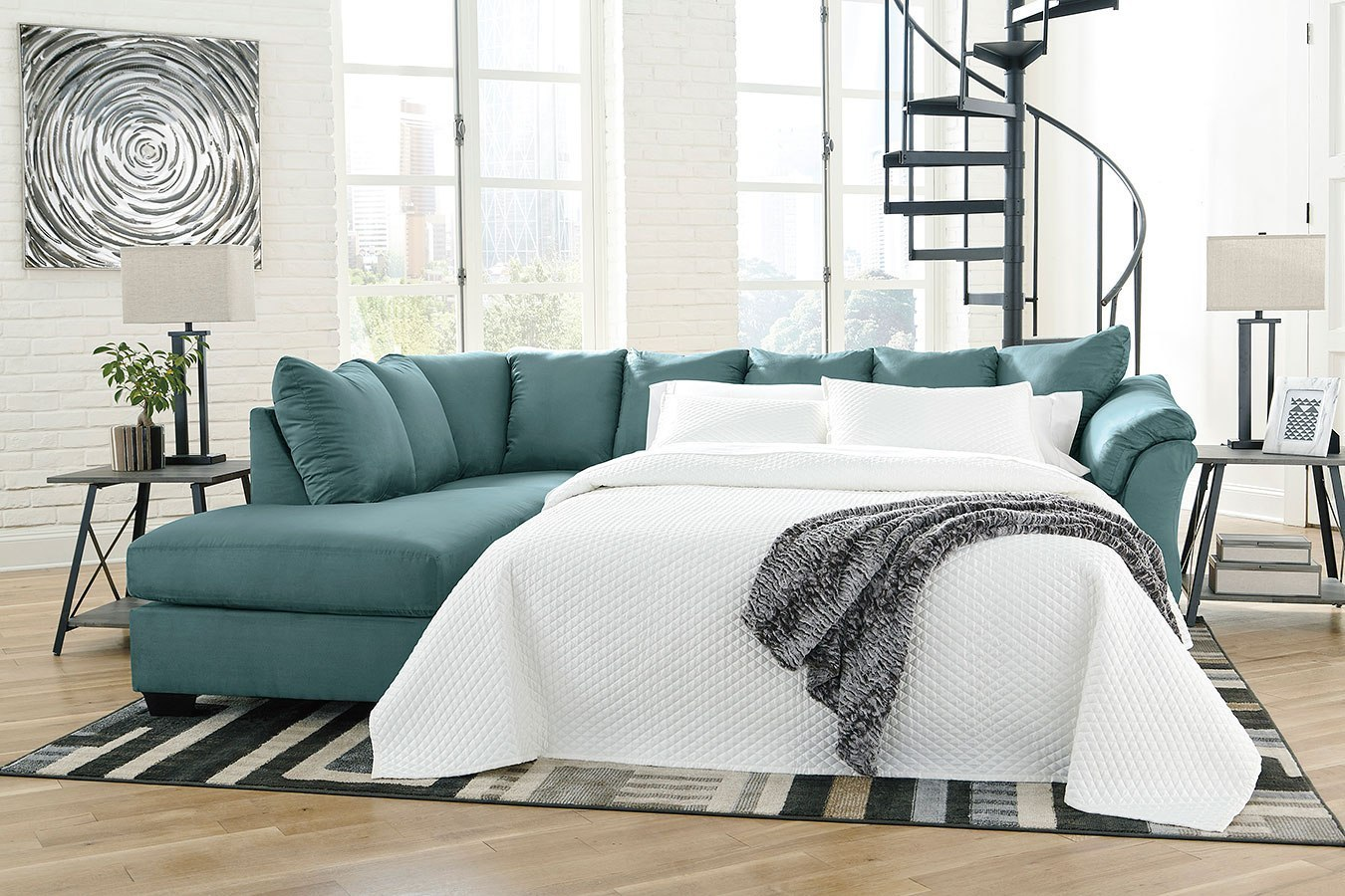 Darcy Sky Left Chaise Sectional W Sleeper By Signature