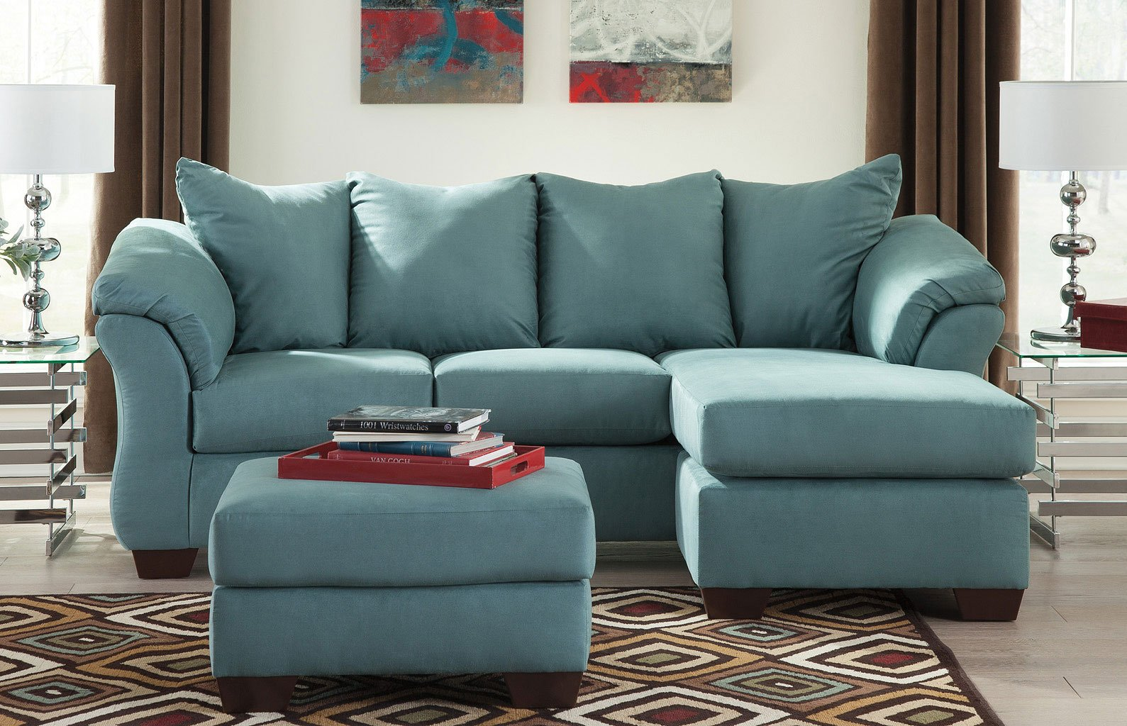 Darcy Sky Sofa Chaise Living Room Set By Signature
