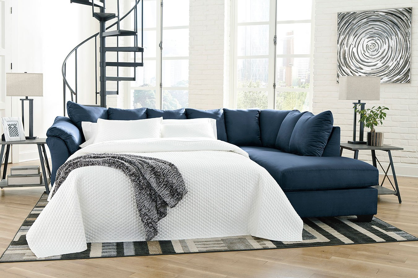 Darcy Blue Right Chaise Sectional W Sleeper By Signature