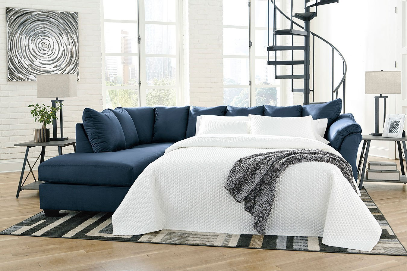 Darcy Blue Left Chaise Sectional W Sleeper By Signature