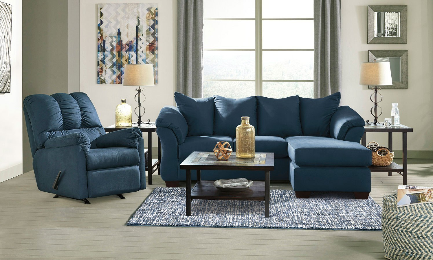 Darcy blue sofa chaise living room set by signature design - Living room sets with chaise lounge ...