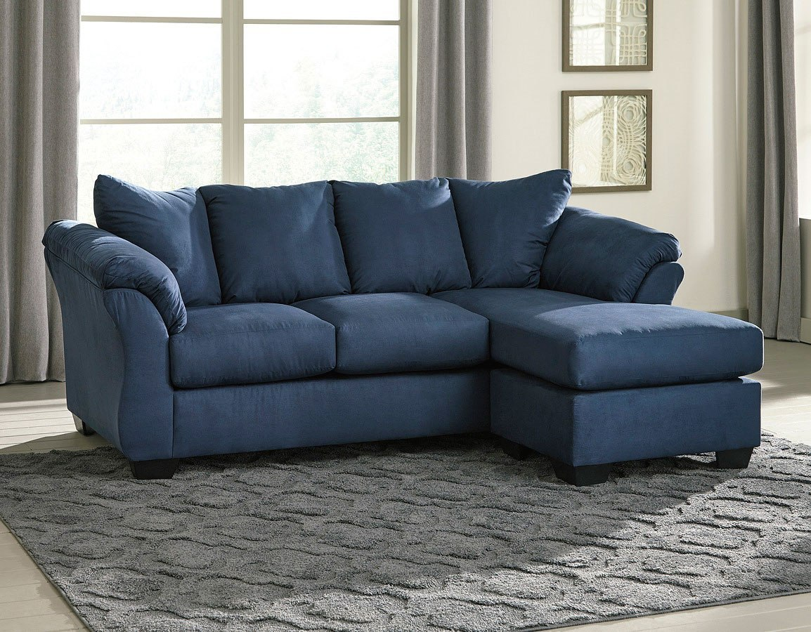 Darcy Blue Sofa Chaise Living Room Set By Signature Design