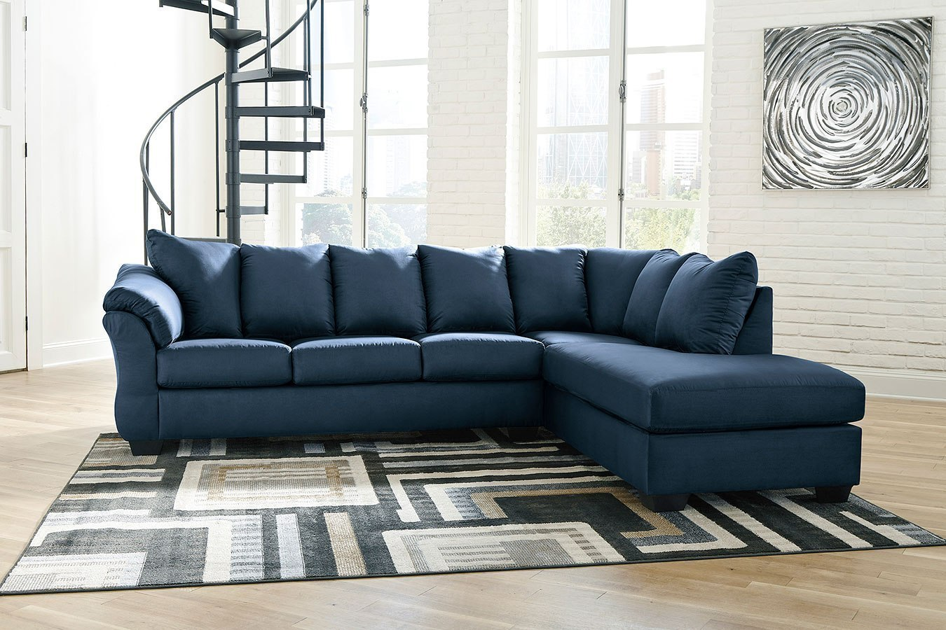 Darcy Blue Right Chaise Sectional by Signature Design by ...
