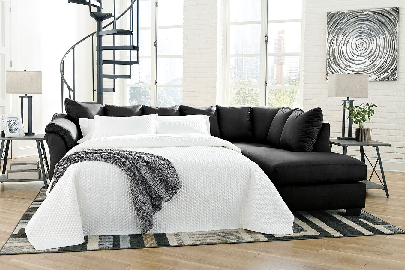 Darcy Black Right Chaise Sectional W Sleeper By Signature