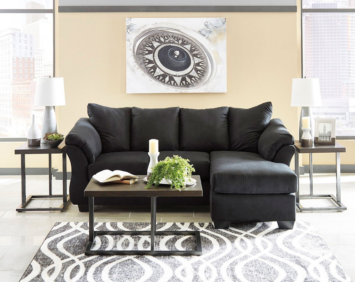Darcy Black Sofa Chaise Living Room Set By Signature