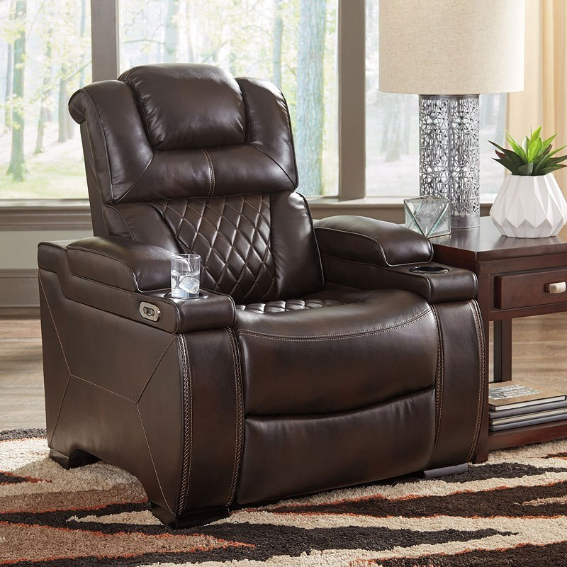 Warnerton Chocolate Power Reclining Living Room Set By