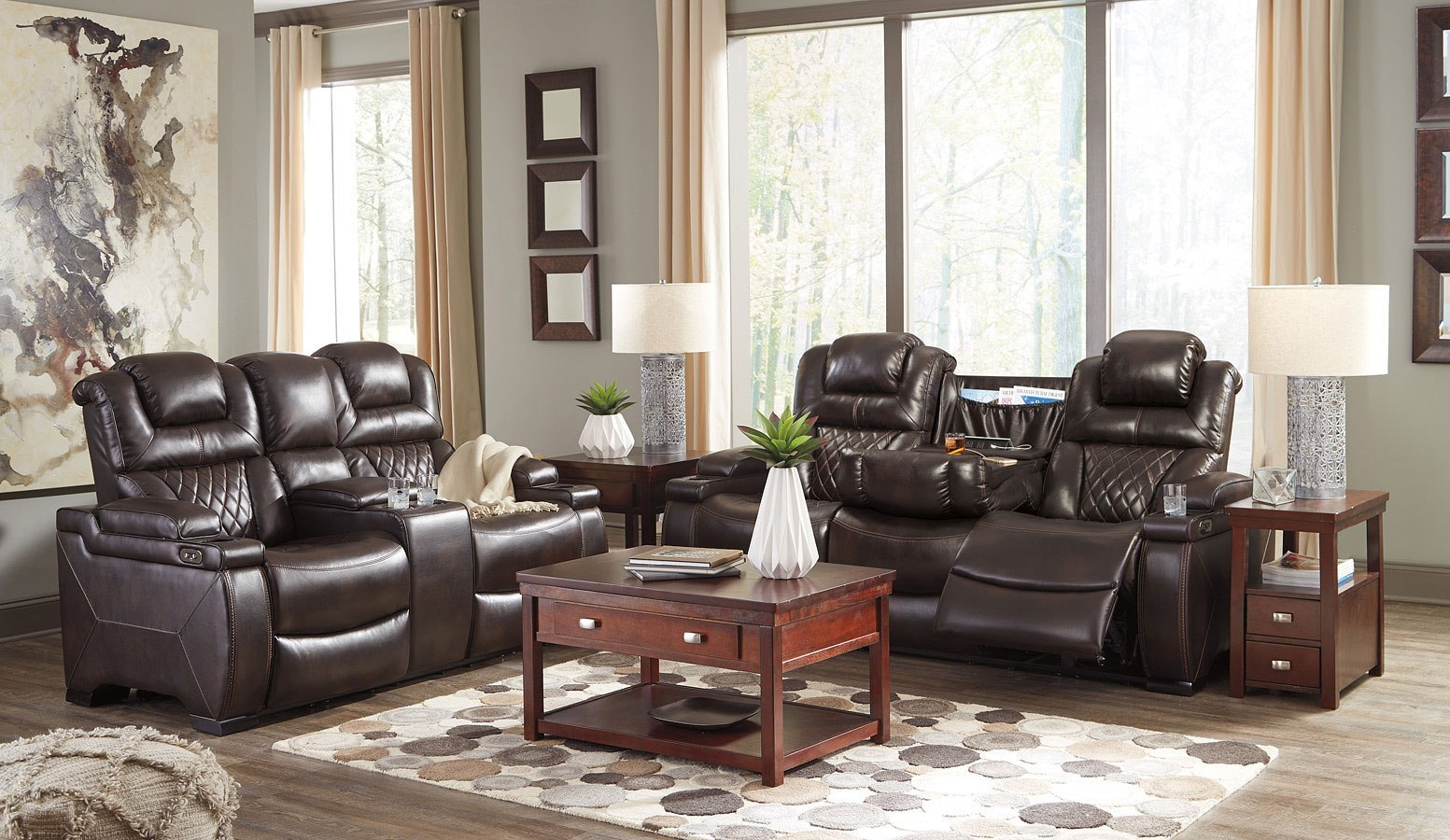 Warnerton Chocolate Power Reclining Living Room Set By Signature Design By Ashley 3