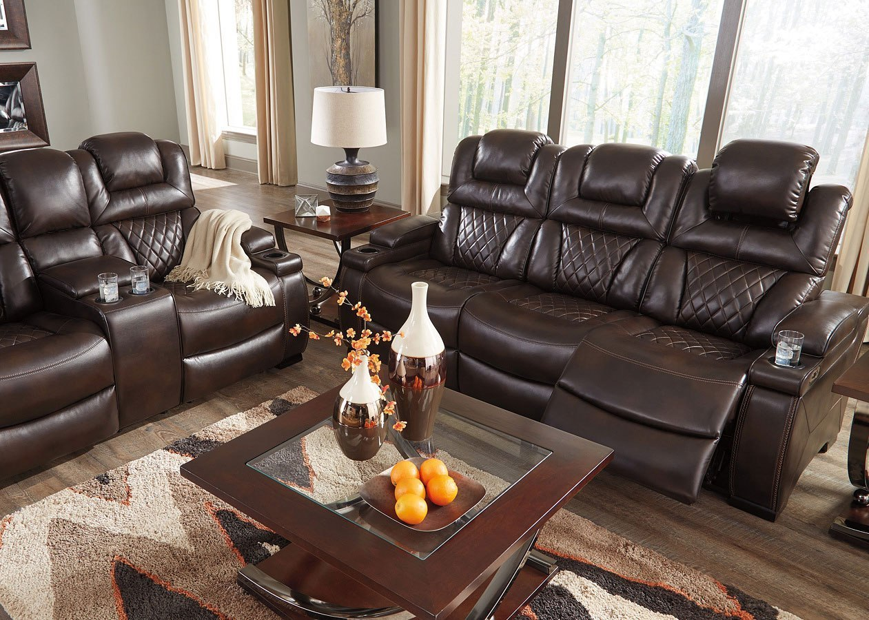 Warnerton Chocolate Power Reclining Living Room Set By