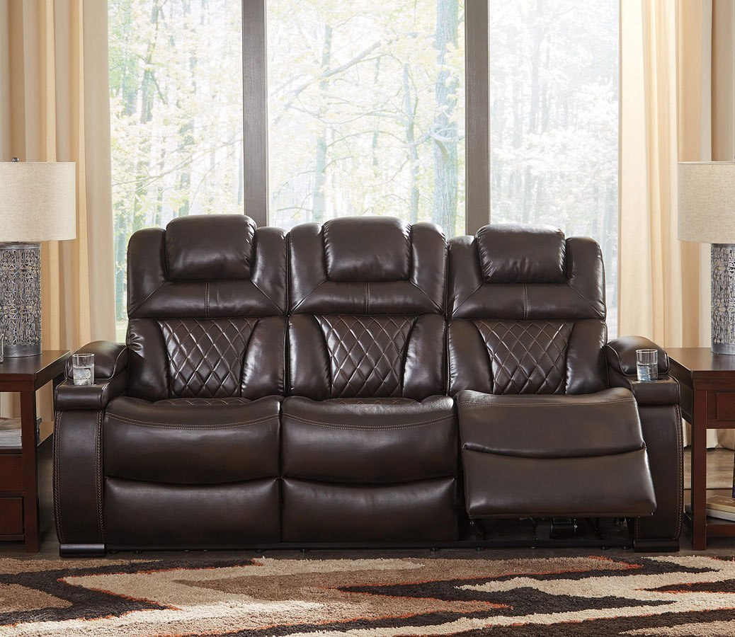 Fabulous Warnerton Chocolate Power Reclining Sofa W Adjustable Headrest Andrewgaddart Wooden Chair Designs For Living Room Andrewgaddartcom
