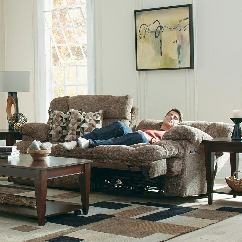 Brice Power Lay Flat Reclining Sofa w/ Power Headrest and Lumbar ...