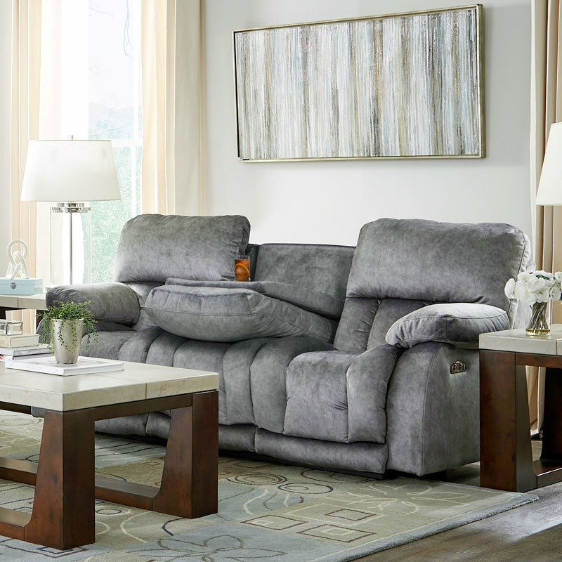 Kendall Power Lay Flat Reclining Sofa W Drop Table And