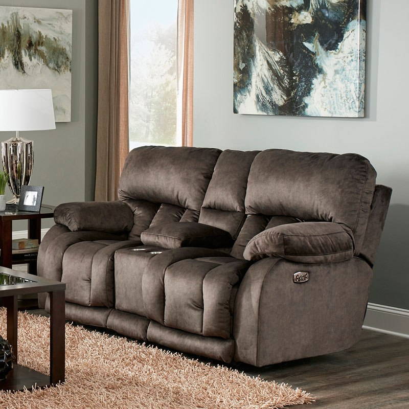 Kendall Power Lay Flat Reclining Console Loveseat W Power