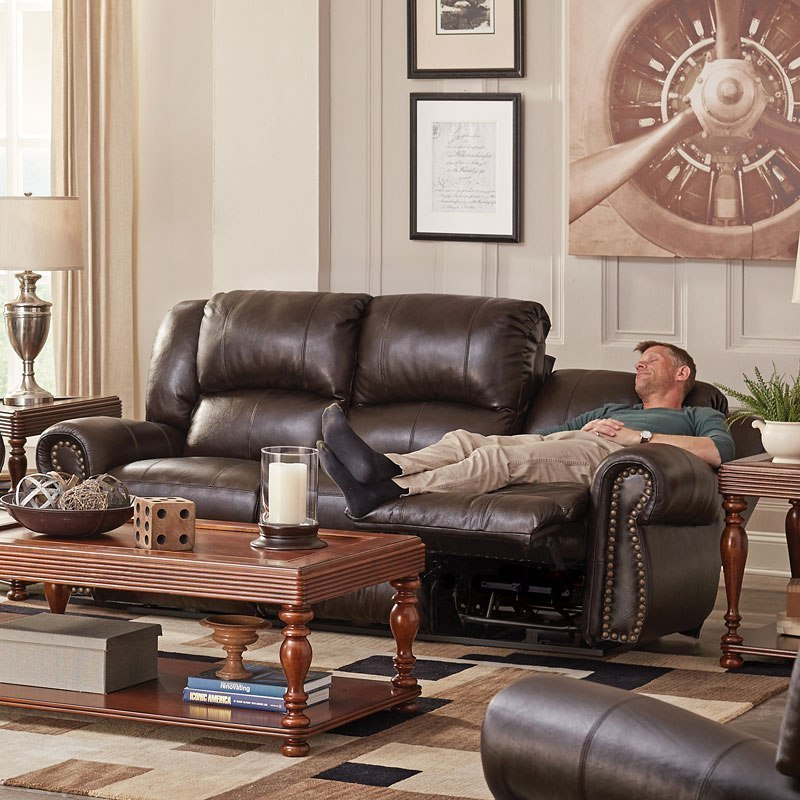 Messina Power Lay Flat Reclining Sofa w/ Power Headrest and Lumbar  (Chocolate)