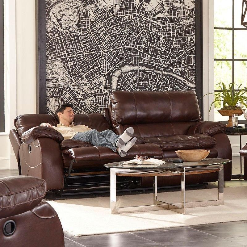 Verona Power Lay Flat Reclining Sofa w/ Power Headrests and Lumbar (Walnut)