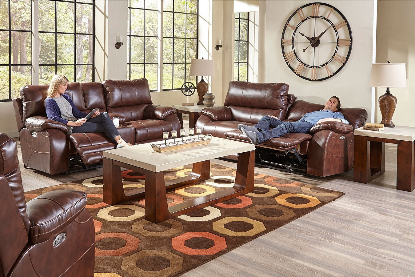 Sheridan Power Lay Flat Reclining Living Room Set W Power