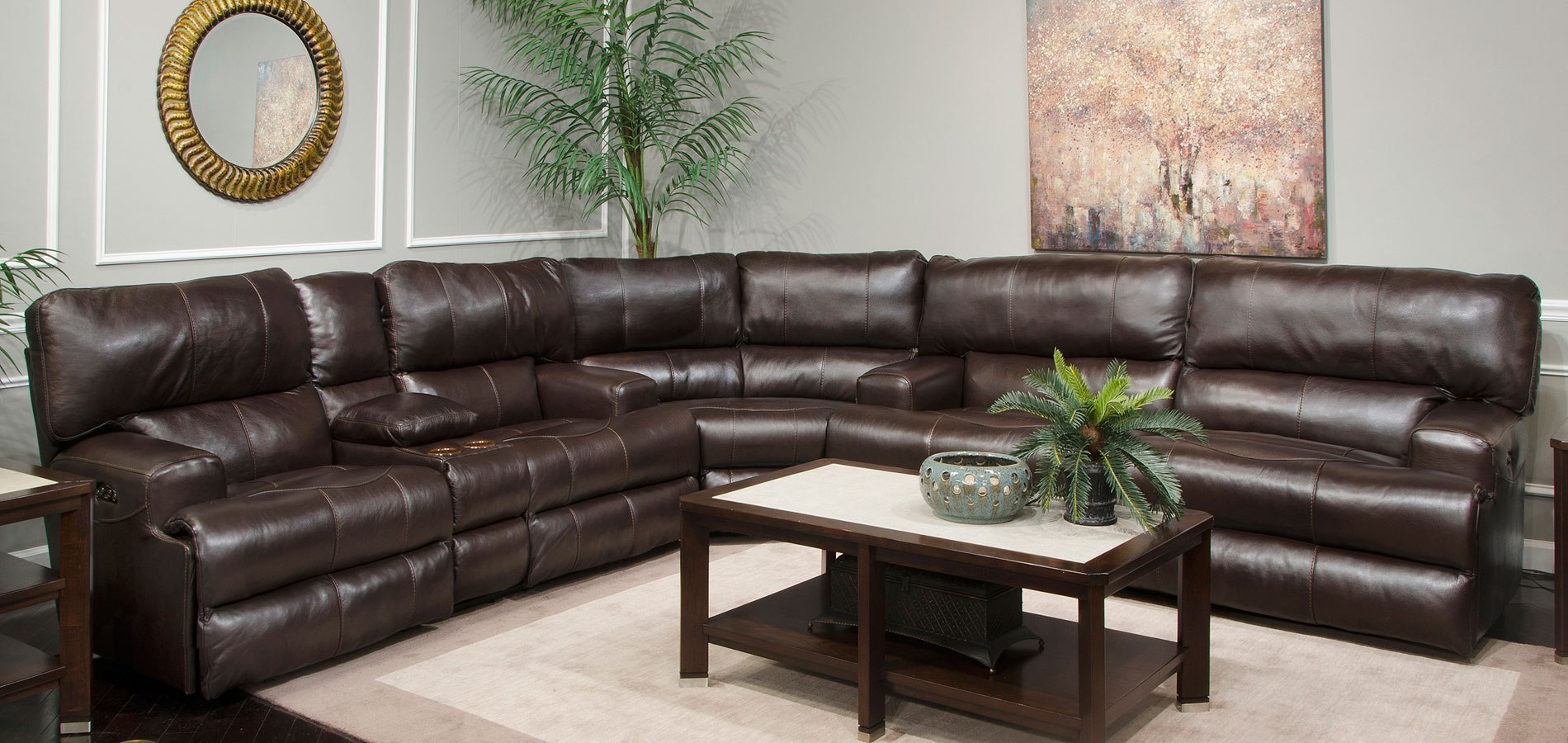 Wembley Power Lay Flat Reclining Sectional W Power Headrests And Lumbar Chocolate