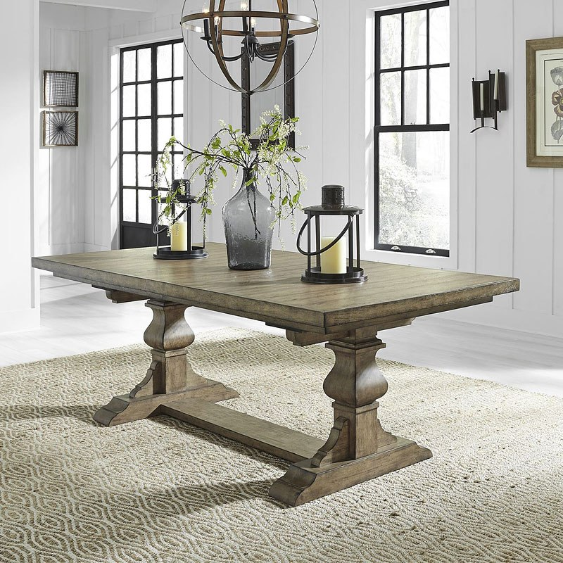 Harvest Dining Room Table: Harvest Home Rectangular Trestle Dining Table (Barley