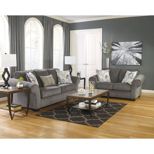 Makonnen charcoal living room set signature design by - Small living room furniture for sale ...