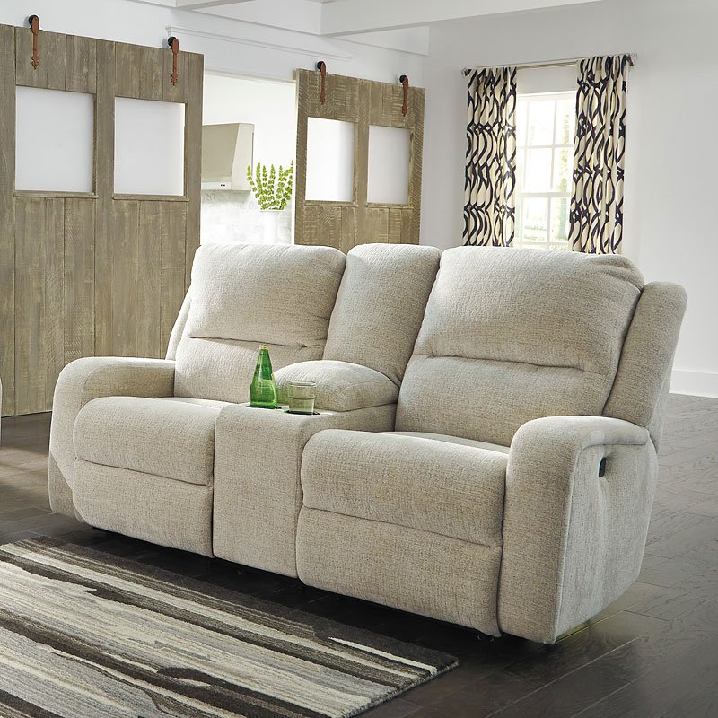 Awe Inspiring Krismen Sand Power Reclining Loveseat W Console Evergreenethics Interior Chair Design Evergreenethicsorg